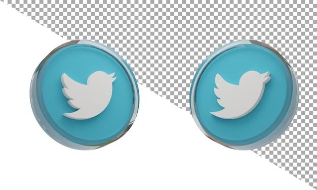 3d 렌더링 유리 아이콘 로고 트위터 아이소메트릭