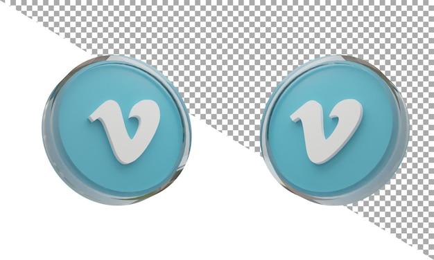 3d 렌더링 유리 아이콘 로고 vimeo 아이소메트릭