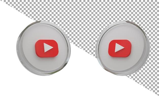 3d 렌더링 유리 아이콘 로고 youtube 아이소메트릭