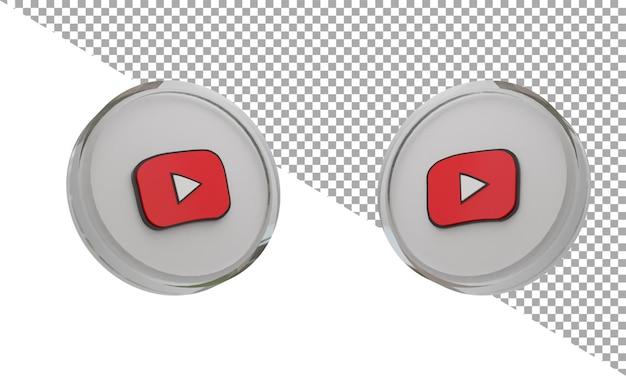3d 렌더링 유리 아이콘 로고 youtube 키즈 아이소메트릭