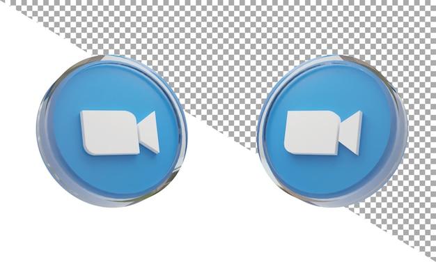 3d 렌더링 유리 아이콘 로고 확대/축소 아이소메트릭