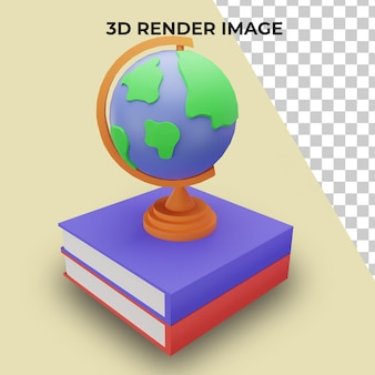 3d rendering globe with back to school concept premium psd