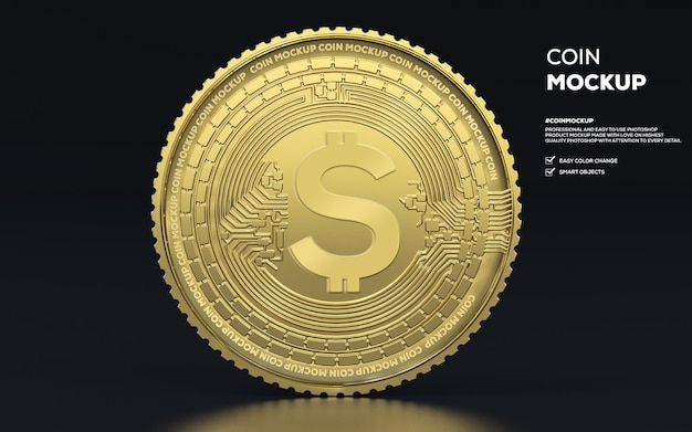 3d rendering of gold coin mockup