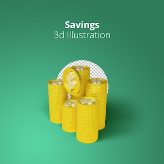 3d рендеринг стопок золотых монет с концепцией экономии денег