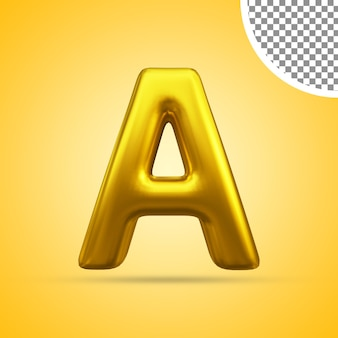 3d rendering of gold text effect capital letter a