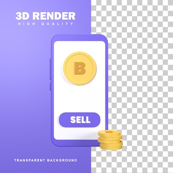 モバイルでのゴールデンビットコイン暗号通貨の3dレンダリング。