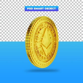 3dレンダリングゴールデンイーサリアムデジタル通貨