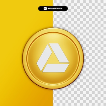 3d rendering google drive icon on golden circle isolated