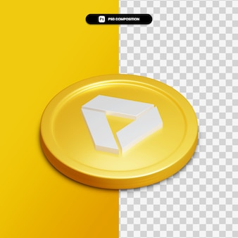 分離された金色の円の3dレンダリンググーグルドライブアイコン Premium Psd