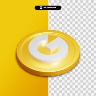 分離された金色の円の3dレンダリンググーグルアイコン Premium Psd