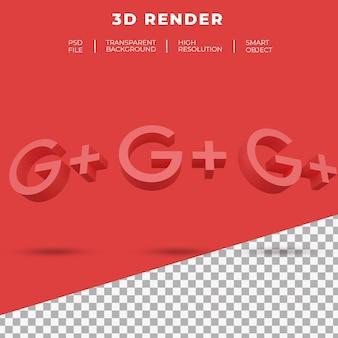3d rendering google plus logo isolated