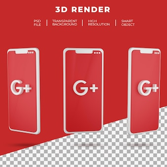 3d rendering google plus logo of smartphone isolated