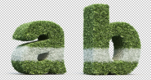 3d rendering of grass playing field alphabet a and alphabet b