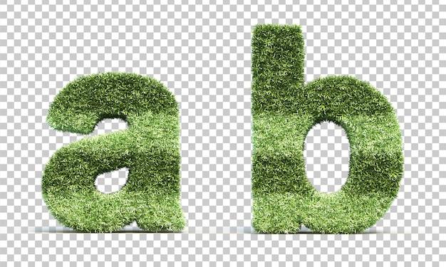 3d rendering of grass playing field alphabet a and alphabet b