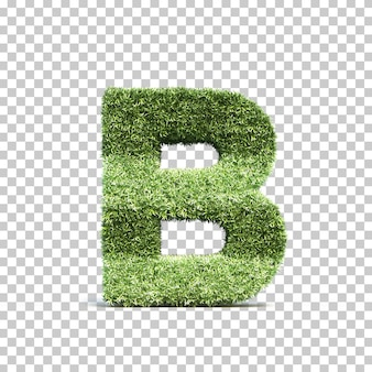 3d rendering of grass playing field alphabet b