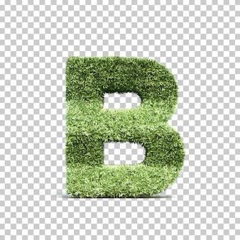 3d rendering of grass playing field alphabet b