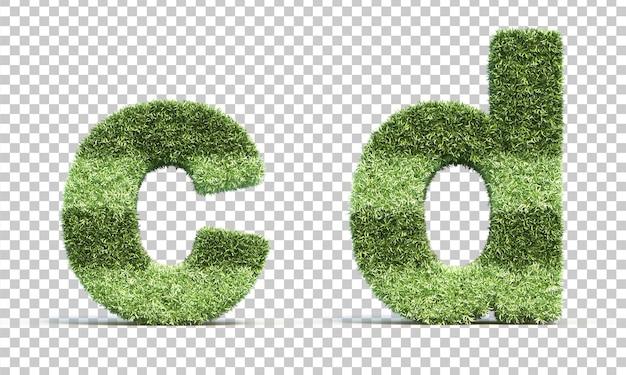 3d rendering of grass playing field alphabet c and alphabet d