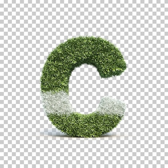 3d rendering of grass playing field alphabet c