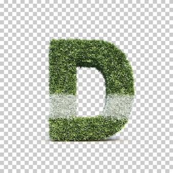 3d rendering of grass playing field alphabet d