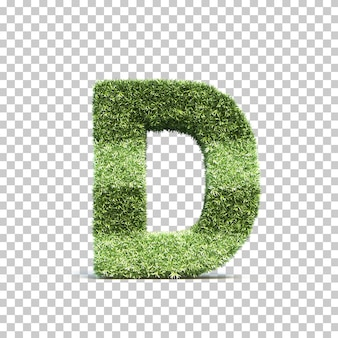 3d rendering of grass playing field alphabet d