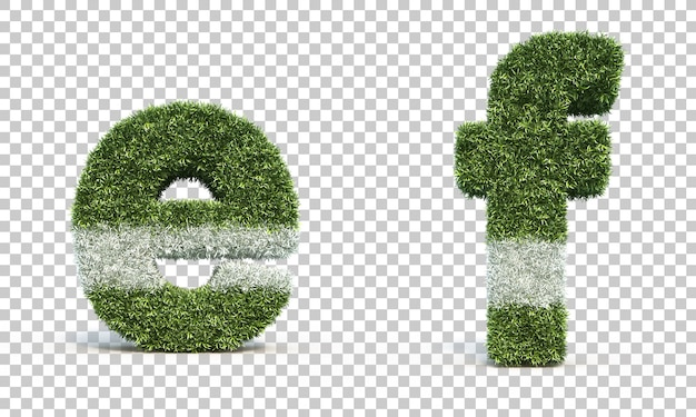 3d rendering of grass playing field alphabet e and alphabet f
