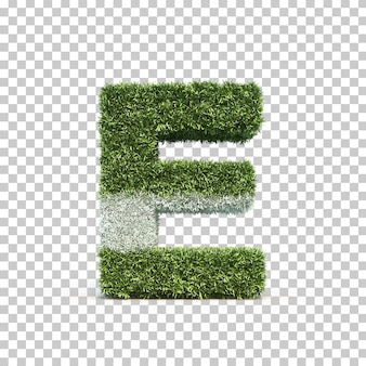 3d rendering of grass playing field alphabet e