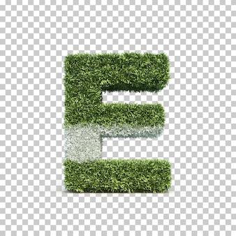3d rendering of grass playing field alphabet e