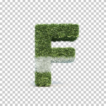 3d rendering of grass playing field alphabet f