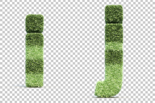 3d rendering of grass playing field alphabet i and alphabet j
