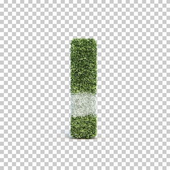 3d rendering of grass playing field alphabet i
