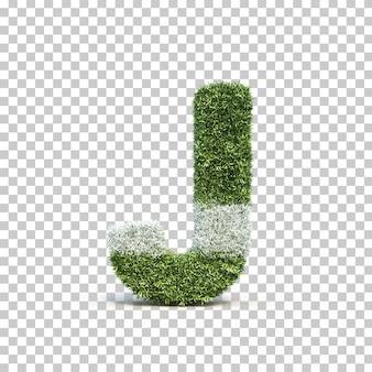 3d rendering of grass playing field alphabet j