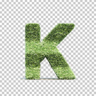 3d rendering of grass playing field alphabet k