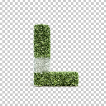 3d rendering of grass playing field alphabet l