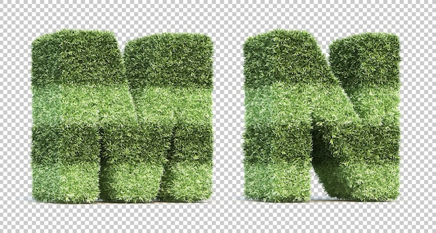 3d rendering of grass playing field alphabet m and alphabet n