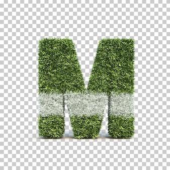 3d rendering of grass playing field alphabet m