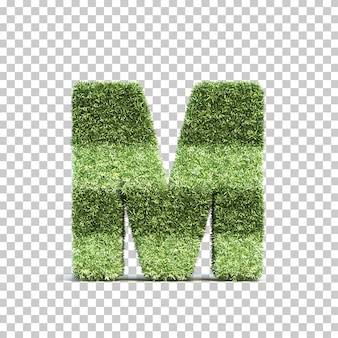 3d rendering of grass playing field alphabet m