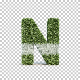 3d rendering of grass playing field alphabet n