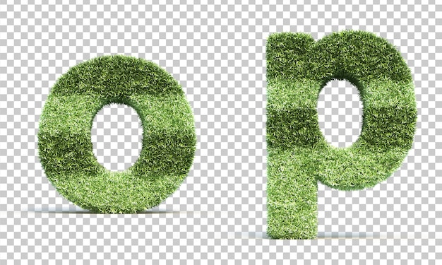 3d rendering of grass playing field alphabet o and alphabet p