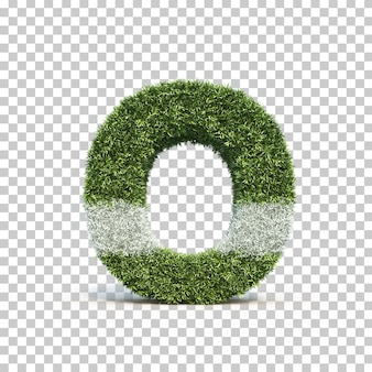 3d rendering of grass playing field alphabet o