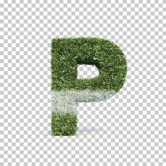 3d rendering of grass playing field alphabet p