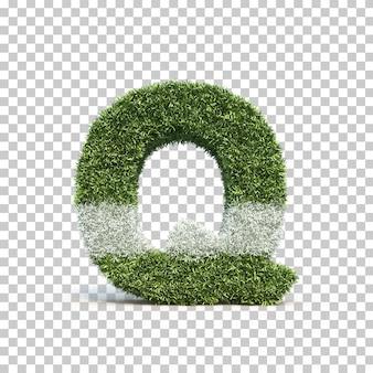 3d rendering of grass playing field alphabet q