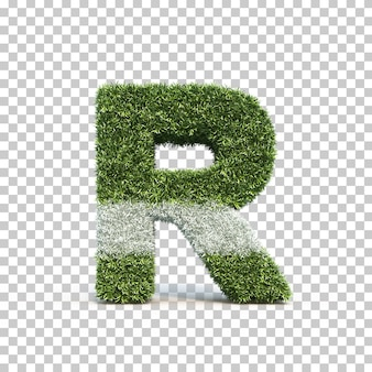 3d rendering of grass playing field alphabet r