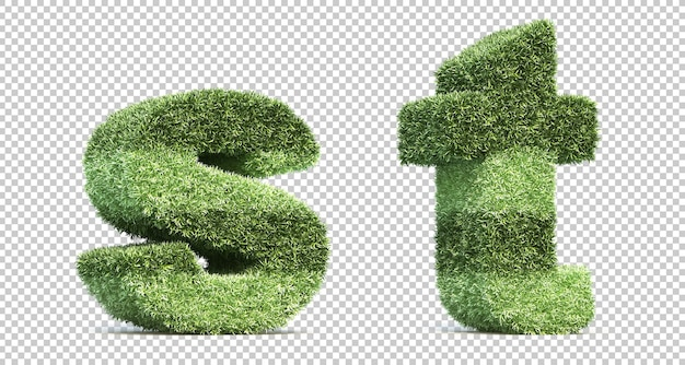 3d rendering of grass playing field alphabet s and alphabet t