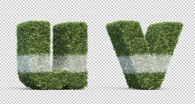 3d rendering of grass playing field alphabet u and alphabet v