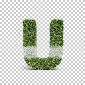 3d rendering of grass playing field alphabet u