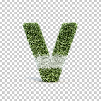 3d rendering of grass playing field alphabet v
