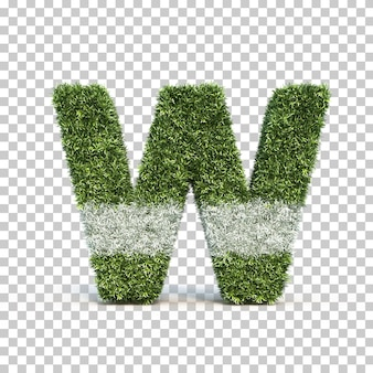 3d rendering of grass playing field alphabet w