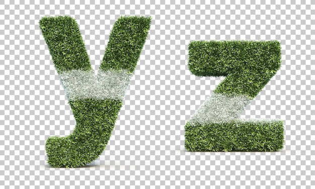 3d rendering of grass playing field alphabet y and alphabet z