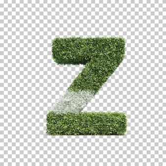 3d rendering of grass playing field alphabet z