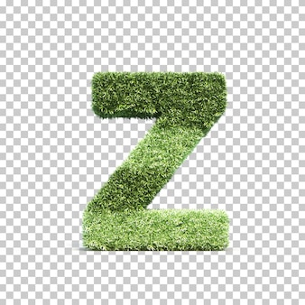 3d rendering of grass playing field alphabet z